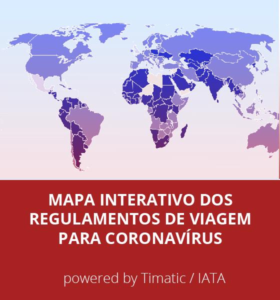 Mapa Interativo dos Regulamentos de Viagem para Coronavírus (COVID19) - by Timatic / IATA